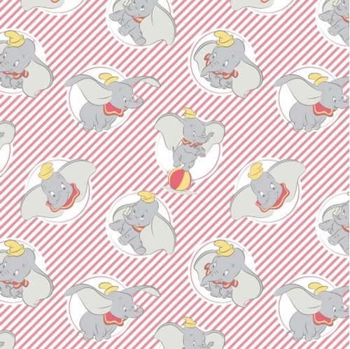 b2db4845369 Picture of Disney Dumbo in the Circus Dumbo Stripes in Light Coral Cotton  Fabric