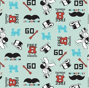 Hasbro Gaming Monopoly Game Icons Playing Pieces Aqua Cotton Fabric