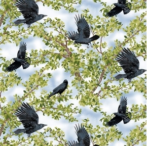 Born Free Crow Black Crows Birds in Trees Light Blue Cotton Fabric