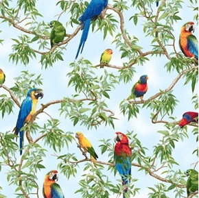 Born Free Parrots Colorful Parrot Birds in the Trees Cotton Fabric