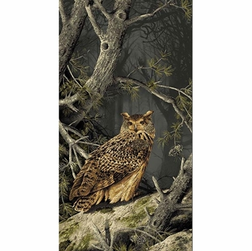 Majestic Woods Great Horned Owl in the Woods 24x44 Cotton Fabric Panel