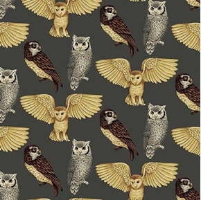 Majestic Woods Owls Barn Owl Horned Owl Barred Owl Cotton Fabric