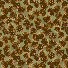 Majestic Woods Pine Cones on Green Cotton Fabric