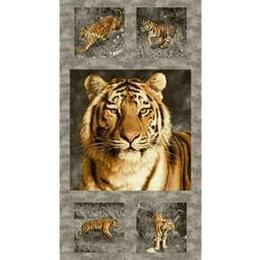 Tiger Kingdom Bengal Tiger Blocks 24x44 Cotton Fabric Panel
