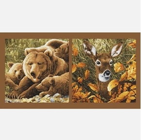 Northwoods Deer and Bear Mom and Cubs 24x44 Cotton Pillow Panel Set