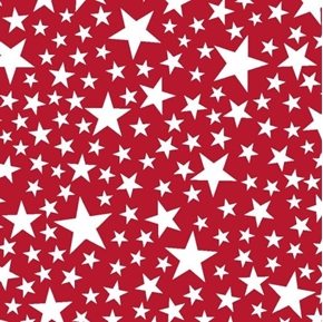 Kick Off Your Boots White Stars on Red Cotton Fabric