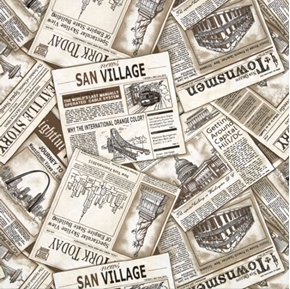 Cityscapes Newspaper City Papers Newspapers Sepia Cotton Fabric