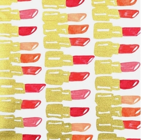 Bouffants and Broken Hearts Gold Metallic Lipstick White Cotton Fabric