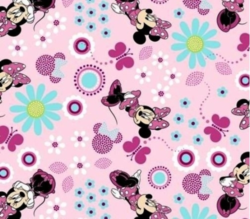 Disney Minnie Minnie Minnie Mouse and Flowers Pink Cotton Fabric