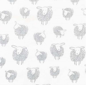 Wooley Sheep Silver Gray Curly Sheep on White Cotton Fabric