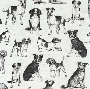 Playful Pups Dogs in Grey Beagles Terriers Mutts Dog Cotton Fabric