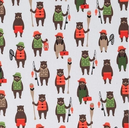 Andes Minis Tiny Bears Dressed for Fishing White Cotton Fabric