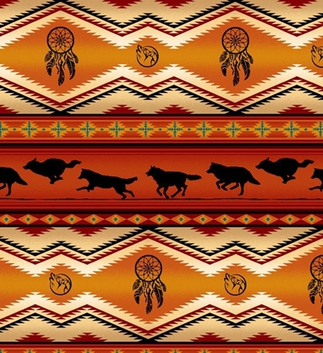 Picture of Tucson Southwest Dream Catcher Wolves Wolf Terracotta Cotton Fabric
