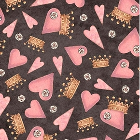 Picture of All For Love Tossed Hearts and Crowns Santoro Dark Gray Cotton Fabric