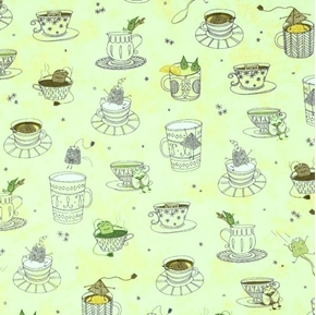 Tea-rrific Tea Cups Cups with Silly Tea Bags Pale Green Cotton Fabric