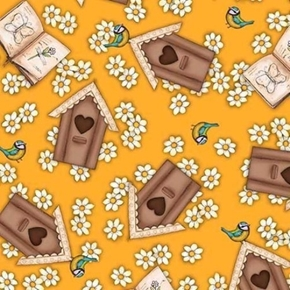 Birds of a Feather Birdhouses Santoro Dark Butterscotch Cotton Fabric