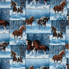 Free Reign Patch Horses in Winter Wild Horse Cotton Fabric