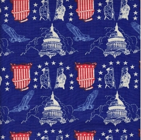 Patriotic Capitol Building and Military Servicemen Blue Cotton Fabric