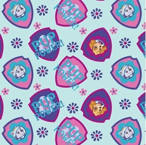 Paw Patrol Pup Power Shield Toss Blue Cotton Fabric