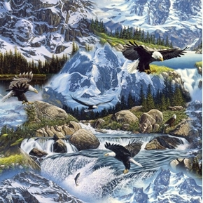 Mysterious Mountains Bald Eagles Rushing Water 24x22 Cotton Fabric