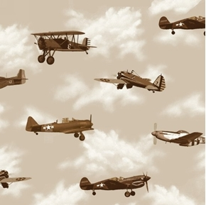 Air Show Boeing Antique Planes Military Aircraft Tan Cotton Fabric