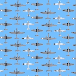 Air Show Boeing Fighter Jets Military Planes in Rows Cotton Fabric