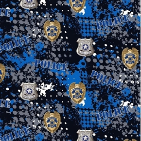 Police Abstract Geo Logo Police Dept Badge Blue Camo Cotton Fabric