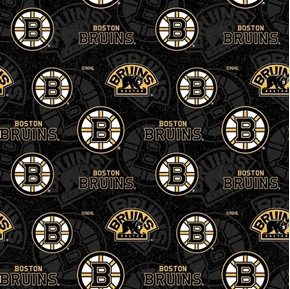 NHL Hockey Boston Bruins Logos and Names Black and Gold Cotton Fabric