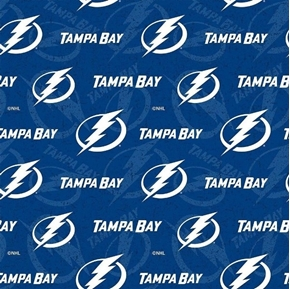 Picture of NHL Hockey Tampa Bay Lightning Logos and Names Blue Cotton Fabric