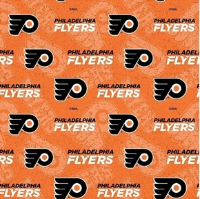 Picture of NHL Hockey Philadelphia Flyers Logos Names Orange Black Cotton Fabric