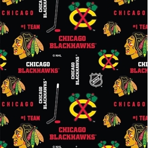 Picture of NHL Hockey Chicago Blackhawks Logos and Names Black Cotton Fabric