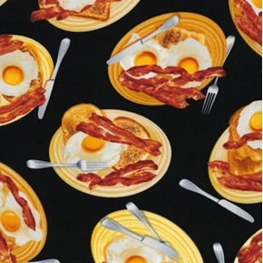 Moms Diner Bacon and Eggs Breakfast Plates of Food Cotton Fabric