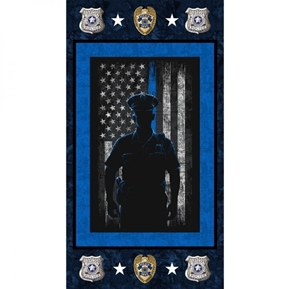 Police Department Law Officer Policeman 24x44 Cotton Fabric Panel