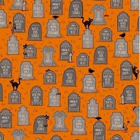 Boos and Ghouls Gravestones Funny Orange Halloween Cotton Fabric