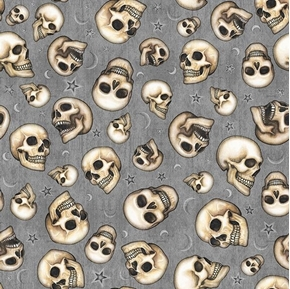 Spellbound Skulls Laughing Skull Heads Magic Gray Cotton Fabric