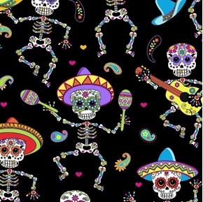 Dancing Sugar Skulls Musical Skeletons Metallic Thread Cotton Fabric