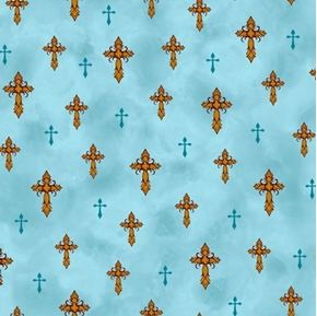 Amazing Grace Crosses Religious Cross Light Teal Cotton Fabric