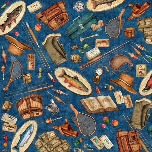 Picture of Fresh Catch Fishing Equipment Creel Tackle Lures Navy Cotton Fabric