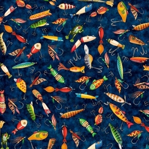 Picture of Fresh Catch Fishing Lures Bait Flies Lure Navy Blue Cotton Fabric