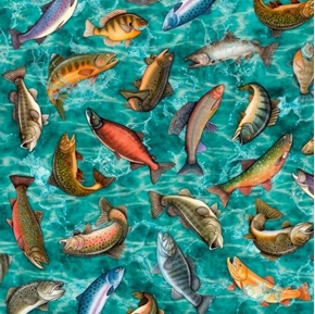 Fresh Catch Fish Toss Fresh Water Trout Bass Turquoise Cotton Fabric