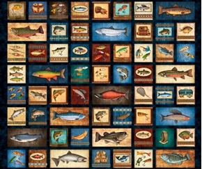 Picture of Fresh Catch Fishing Patches Fish and Tackle Black Cotton Fabric Panel