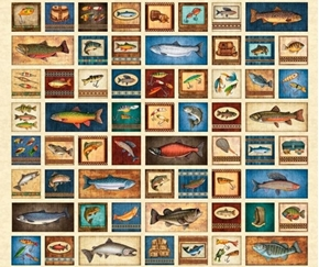 Picture of Fresh Catch Fishing Patches Fish and Tackle Cream Cotton Fabric Panel