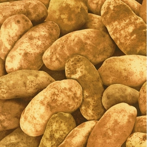 Potatoes Spuds Large Brown Potato Cotton Fabric