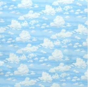 Picture of Good Life Landscape Sky White Puffy Clouds on a Blue Sky Cotton Fabric