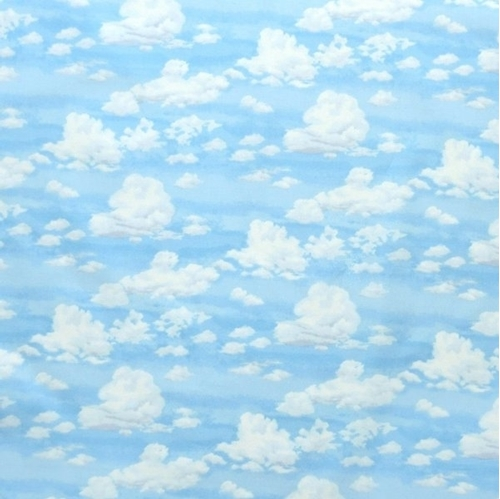Good Life Landscape Sky White Puffy Clouds on a Blue Sky Cotton Fabric