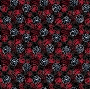Picture of Game of Thrones House Targaryen Sigils and Mottos HBO Cotton Fabric