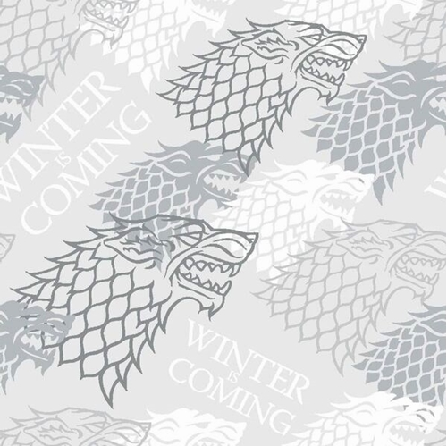 Picture of Game of Thrones Winter Is Coming HBO TV Series Grey Cotton Fabric