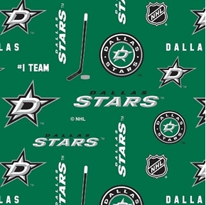 Picture of NHL Hockey Dallas Stars Logos and Names Green Cotton Fabric