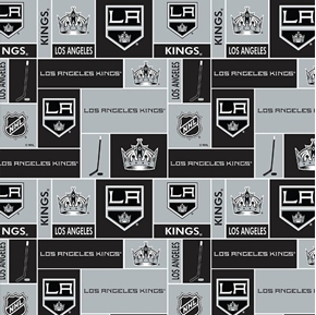 Picture of NHL Hockey Los Angeles Kings Logo Squares Black and Silver Cotton Fabric