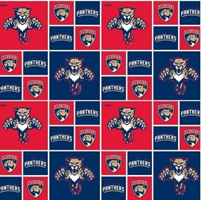 Picture of NHL Hockey Florida Panthers Logo Squares Red and Blue Cotton Fabric